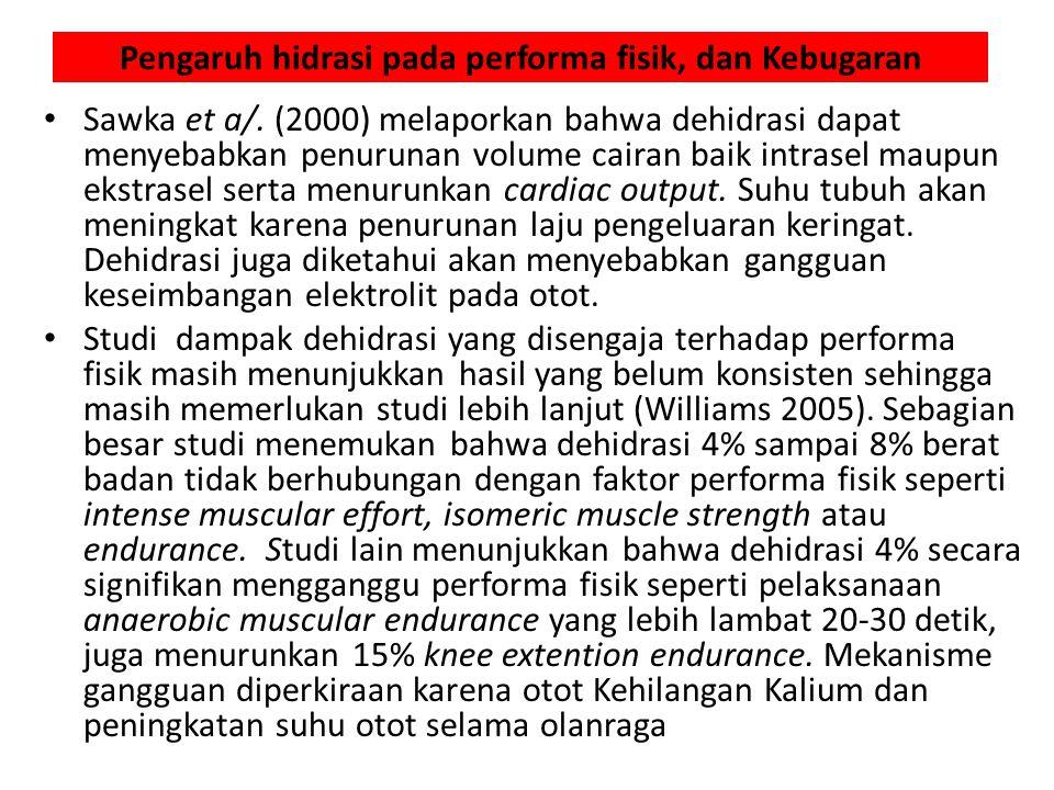 Pengaruh hidrasi pada performa fisik, dan Kebugaran Sawka et a/.