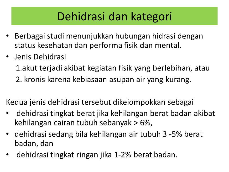 Dehidrasi dan kategori Berbagai studi menunjukkan hubungan hidrasi dengan status kesehatan dan performa fisik dan mental.