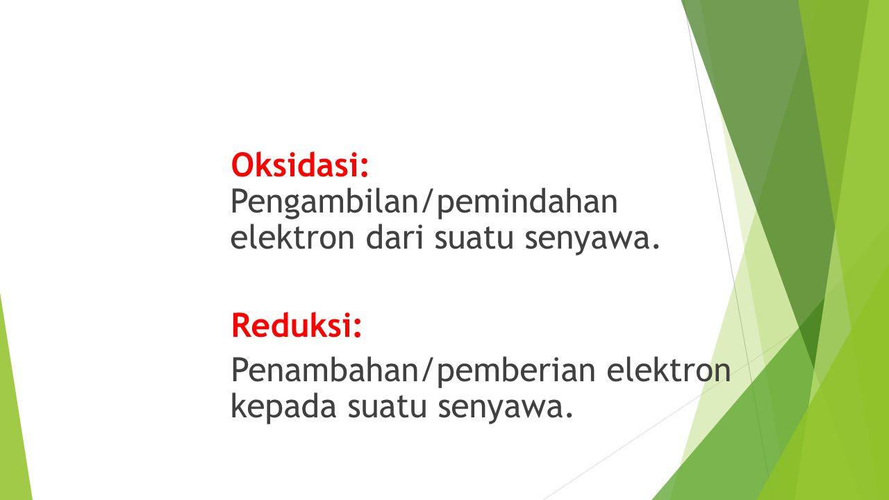 Oksidasi - Reduksi Oksidasi: Pengambilan/pemindahan elektron dari suatu senyawa. Reduksi: Penambahan/pemberian elektron kepada suatu senyawa.