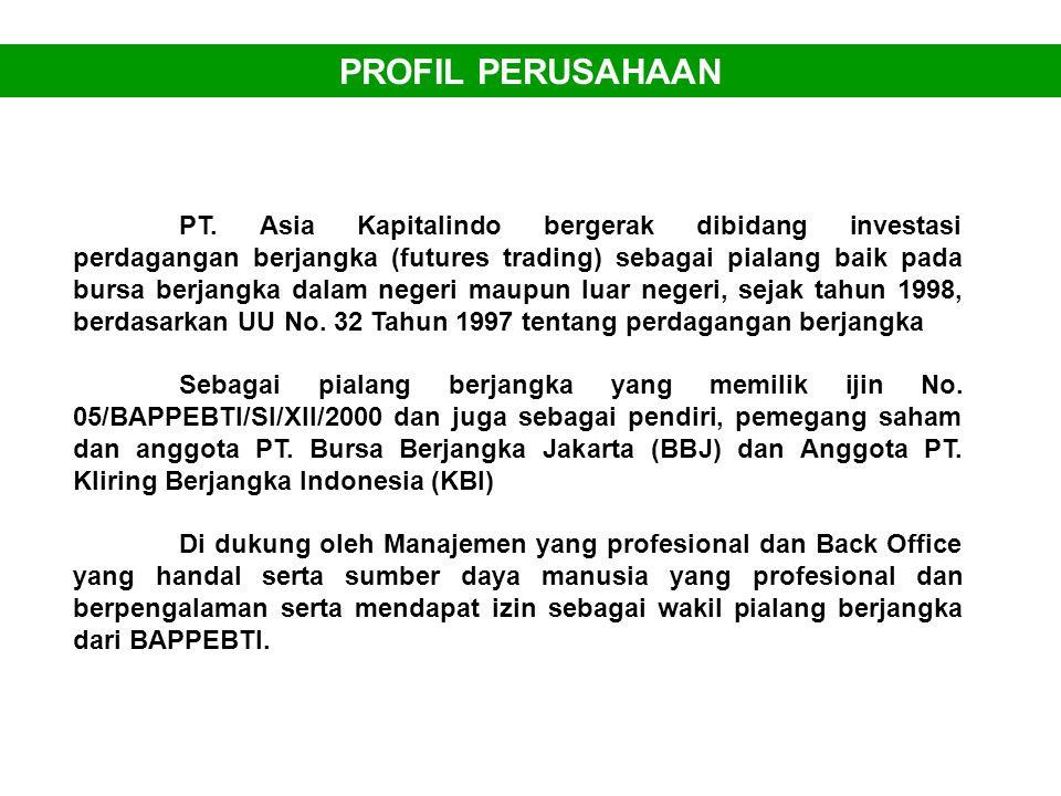PROFIL PERUSAHAAN PT. Asia Kapitalindo bergerak dibidang investasi perdagangan berjangka (futures trading) sebagai pialang baik pada bursa berjangka d