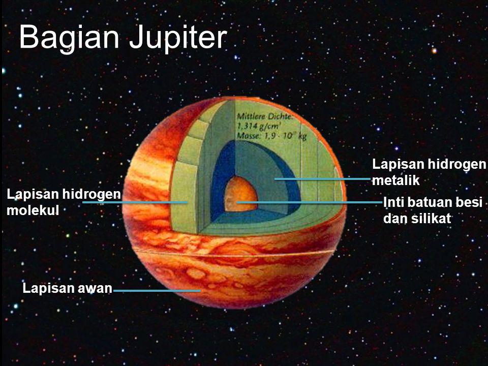 Bagian Jupiter Inti batuan besi dan silikat Lapisan hidrogen metalik Lapisan hidrogen molekul Lapisan awan