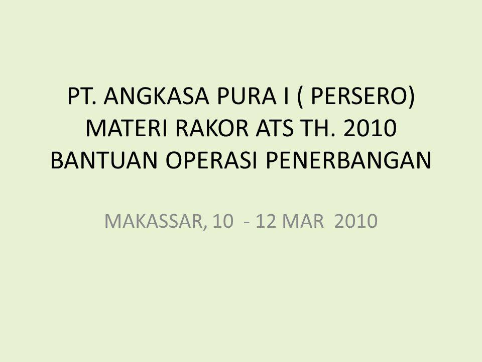 PT. ANGKASA PURA I ( PERSERO) MATERI RAKOR ATS TH. 2010 BANTUAN OPERASI PENERBANGAN MAKASSAR, 10 - 12 MAR 2010