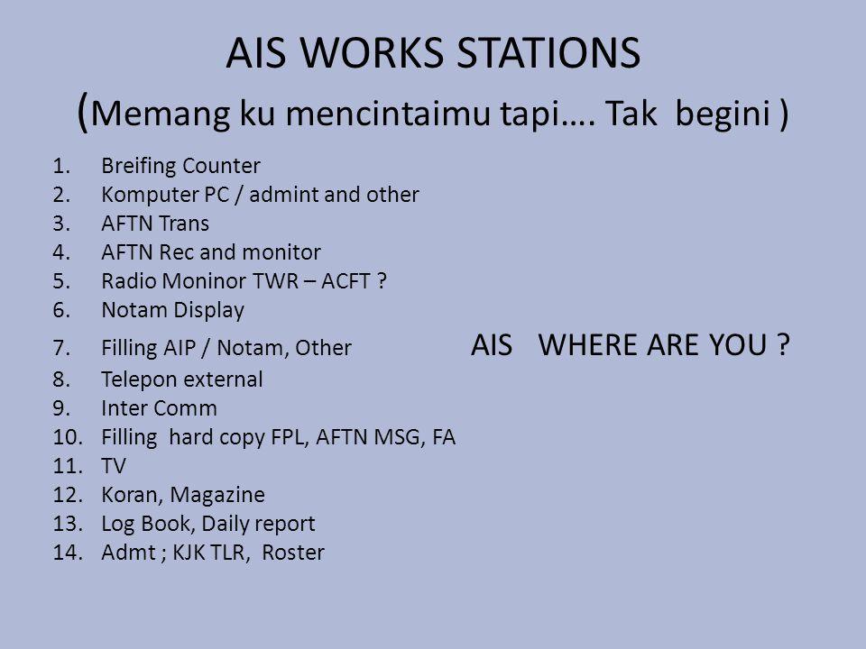 AIS WORKS STATIONS ( Memang ku mencintaimu tapi…. Tak begini ) 1.Breifing Counter 2.Komputer PC / admint and other 3.AFTN Trans 4.AFTN Rec and monitor