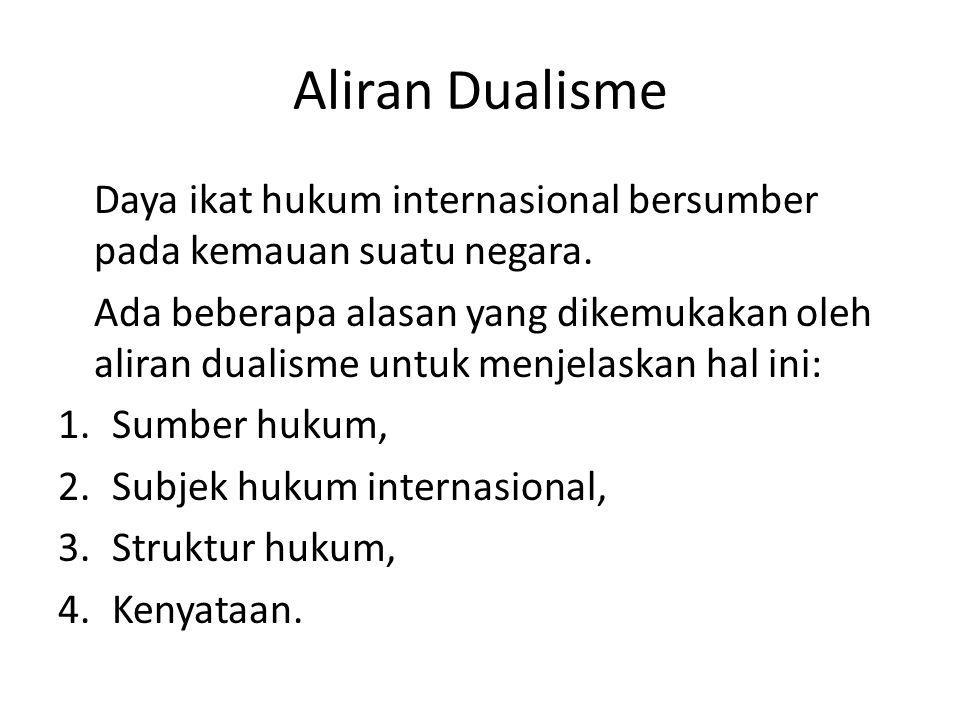 Aliran Dualisme Daya ikat hukum internasional bersumber pada kemauan suatu negara.