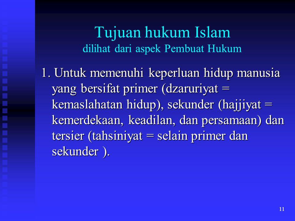 11 Tujuan hukum Islam dilihat dari aspek Pembuat Hukum 1. Untuk memenuhi keperluan hidup manusia yang bersifat primer (dzaruriyat = kemaslahatan hidup