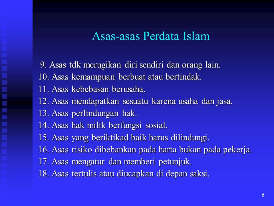 6 Asas-asas Perdata Islam 9. Asas tdk merugikan diri sendiri dan orang lain. 9. Asas tdk merugikan diri sendiri dan orang lain. 10. Asas kemampuan ber