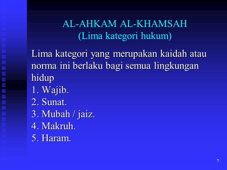 7 AL-AHKAM AL-KHAMSAH (Lima kategori hukum) Lima kategori yang merupakan kaidah atau norma ini berlaku bagi semua lingkungan hidup 1. Wajib. 2. Sunat.