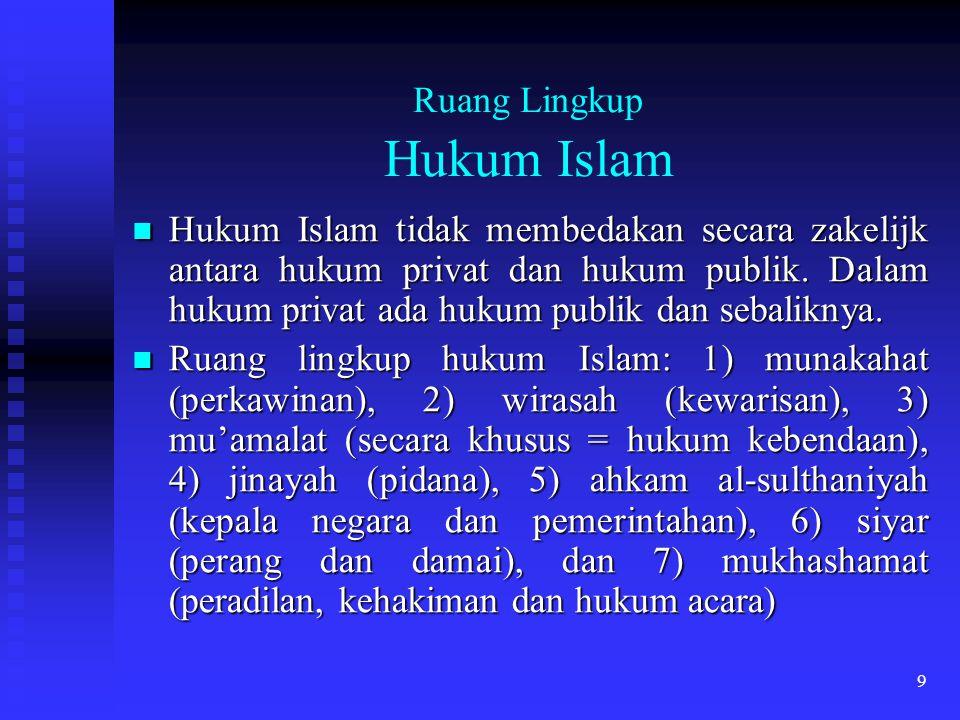 9 Ruang Lingkup Hukum Islam Hukum Islam tidak membedakan secara zakelijk antara hukum privat dan hukum publik. Dalam hukum privat ada hukum publik dan