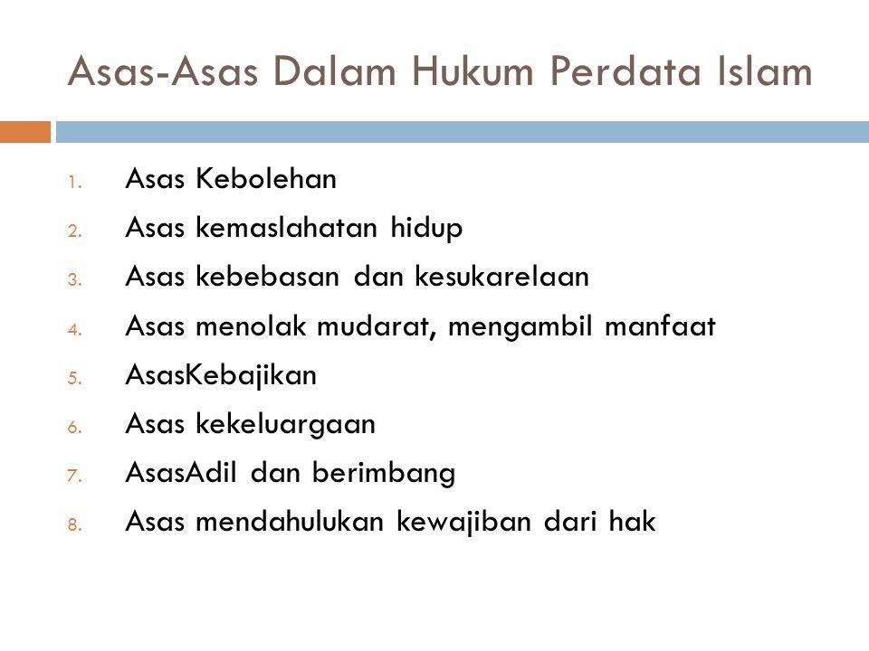 Asas-Asas Umum Hukum Islam 1. Asas Keadilan Q.IV: 135, Q.V: 8, Q.XXXVIII: 26 2. Asas Kepastian Hukum Q.XVII: 15 3. Asas Kemanfaatan QII:178