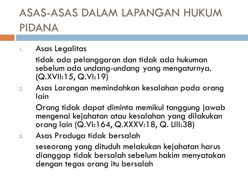 ASAS-ASAS DALAM LAPANGAN HUKUM PIDANA 1.