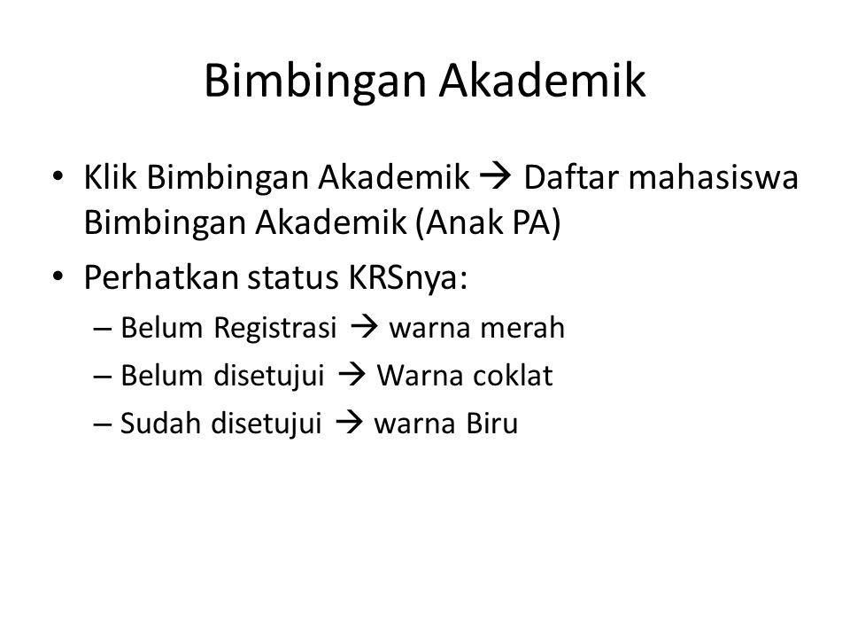 Bimbingan Akademik Klik Bimbingan Akademik  Daftar mahasiswa Bimbingan Akademik (Anak PA) Perhatkan status KRSnya: – Belum Registrasi  warna merah –