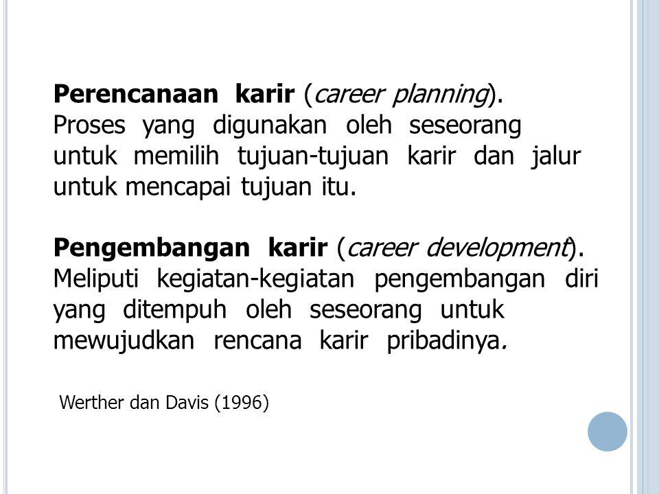 Perencanaan karir (career planning). Proses yang digunakan oleh seseorang untuk memilih tujuan-tujuan karir dan jalur untuk mencapai tujuan itu. Penge