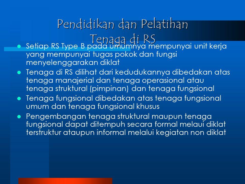 Pendidikan dan Pelatihan Tenaga di RS Setiap RS Type B pada umumnya mempunyai unit kerja yang mempunyai tugas pokok dan fungsi menyelenggarakan diklat