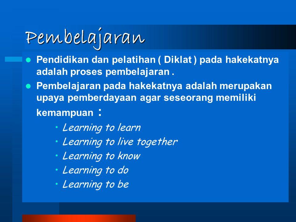 Pembelajaran Pendidikan dan pelatihan ( Diklat ) pada hakekatnya adalah proses pembelajaran. Pembelajaran pada hakekatnya adalah merupakan upaya pembe