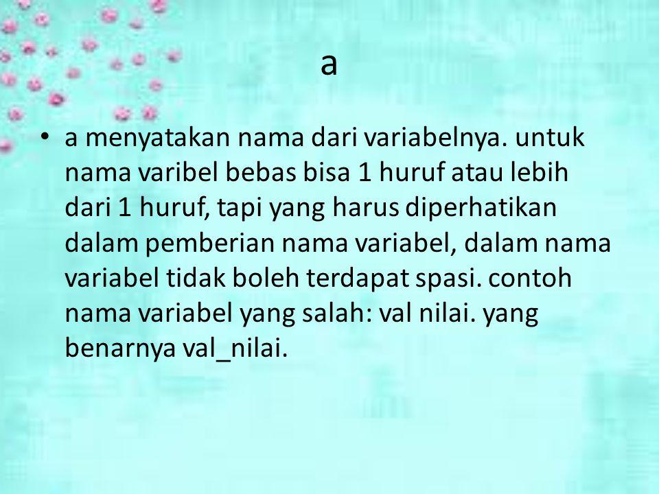 a a menyatakan nama dari variabelnya.