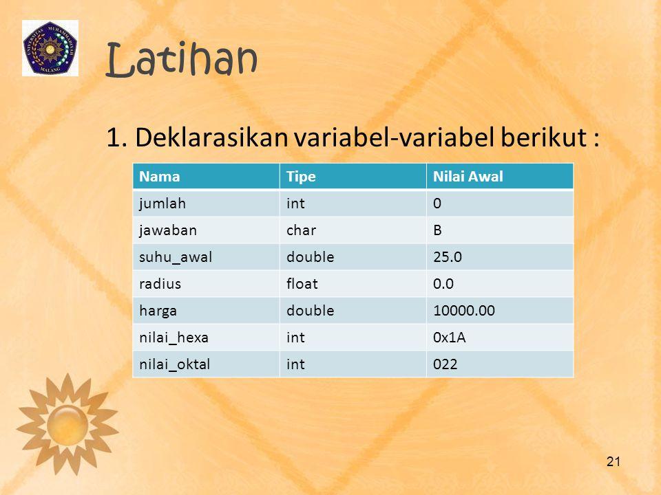 Latihan 1. Deklarasikan variabel-variabel berikut : 21 NamaTipeNilai Awal jumlahint0 jawabancharB suhu_awaldouble25.0 radiusfloat0.0 hargadouble10000.