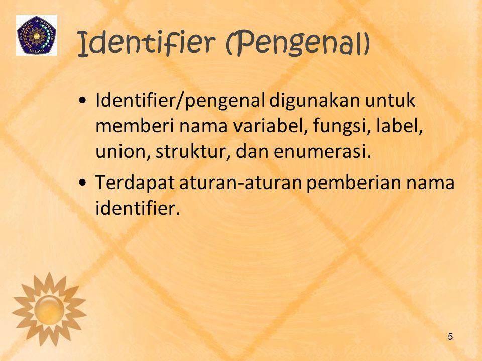 Identifier (Pengenal) Identifier/pengenal digunakan untuk memberi nama variabel, fungsi, label, union, struktur, dan enumerasi. Terdapat aturan-aturan