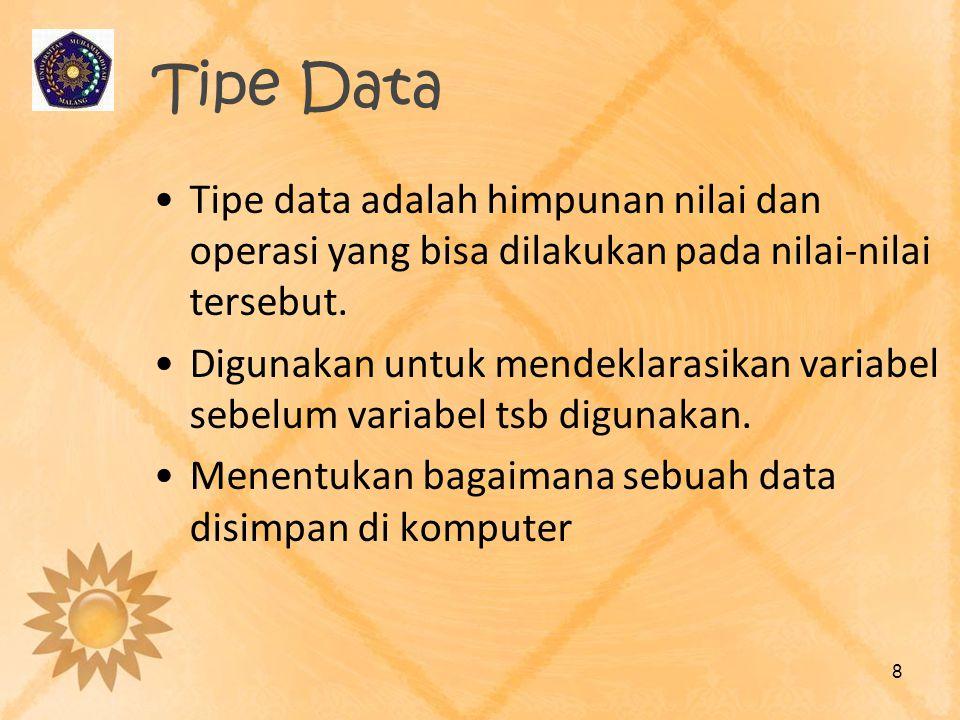 Tipe Data Tipe data adalah himpunan nilai dan operasi yang bisa dilakukan pada nilai-nilai tersebut. Digunakan untuk mendeklarasikan variabel sebelum