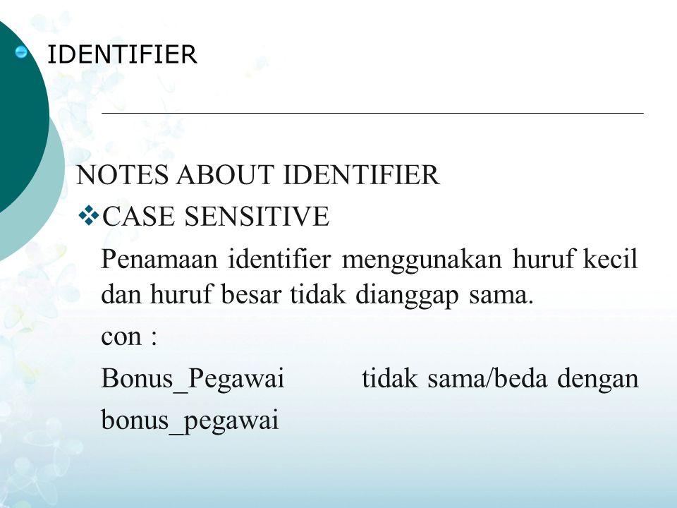 IDENTIFIER NOTES ABOUT IDENTIFIER  CASE SENSITIVE Penamaan identifier menggunakan huruf kecil dan huruf besar tidak dianggap sama.