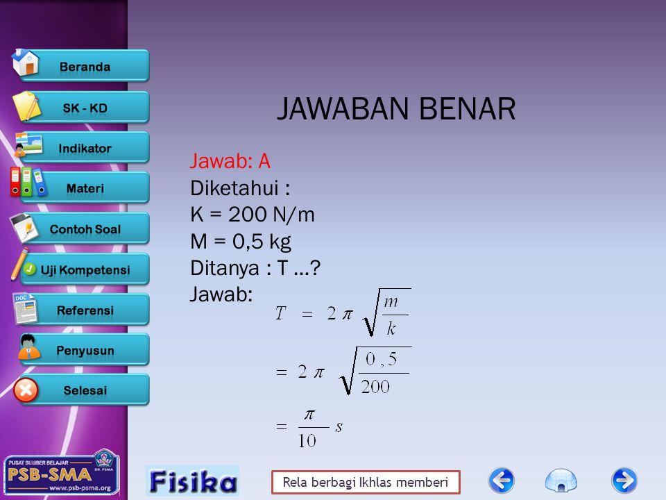 Rela berbagi Ikhlas memberi JAWABAN BENAR Jawab: A Diketahui : K = 200 N/m M = 0,5 kg Ditanya : T ….