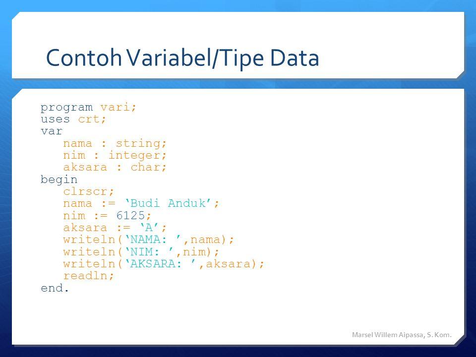 Contoh Variabel/Tipe Data Marsel Willem Aipassa, S.
