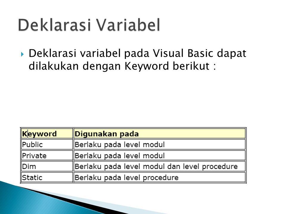  Deklarasi variabel pada Visual Basic dapat dilakukan dengan Keyword berikut :