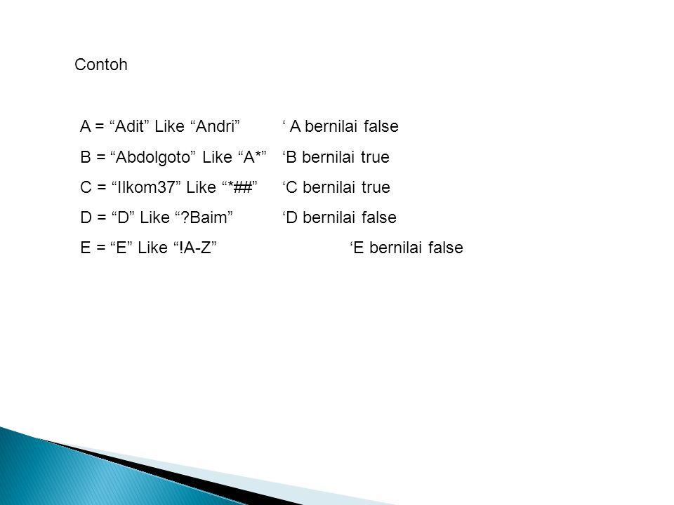 """Contoh A = """"Adit"""" Like """"Andri""""' A bernilai false B = """"Abdolgoto"""" Like """"A*""""'B bernilai true C = """"Ilkom37"""" Like """"*##""""'C bernilai true D = """"D"""" Like """"?Bai"""
