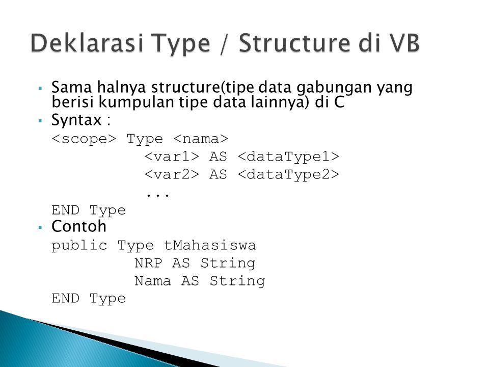  Sama halnya structure(tipe data gabungan yang berisi kumpulan tipe data lainnya) di C  Syntax : Type AS... END Type  Contoh public Type tMahasiswa