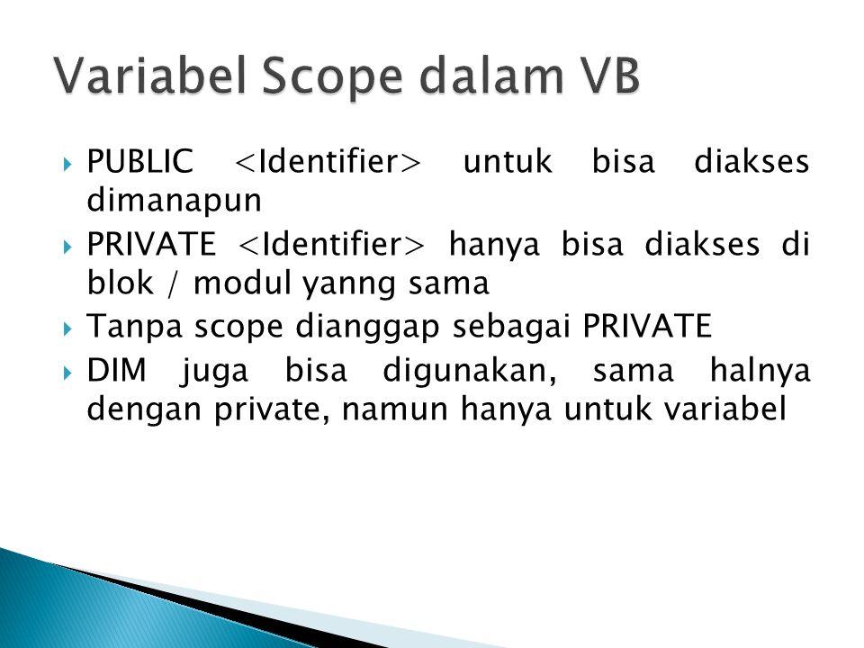  PUBLIC untuk bisa diakses dimanapun  PRIVATE hanya bisa diakses di blok / modul yanng sama  Tanpa scope dianggap sebagai PRIVATE  DIM juga bisa d