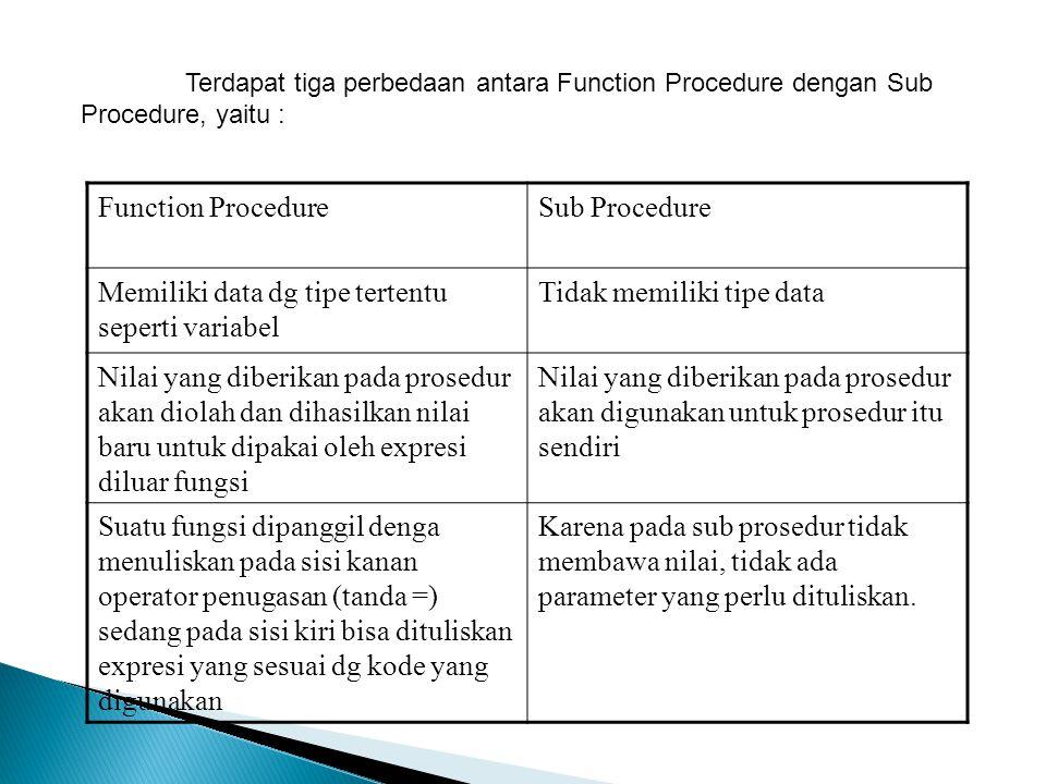 Terdapat tiga perbedaan antara Function Procedure dengan Sub Procedure, yaitu : Function ProcedureSub Procedure Memiliki data dg tipe tertentu seperti