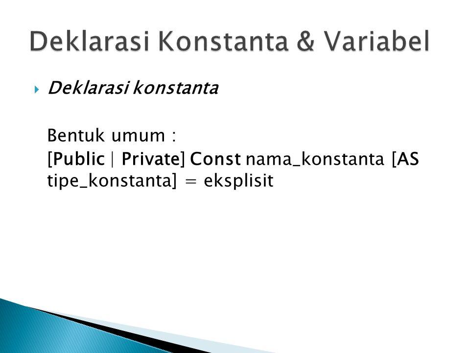  Deklarasi konstanta Bentuk umum : [Public | Private] Const nama_konstanta [AS tipe_konstanta] = eksplisit