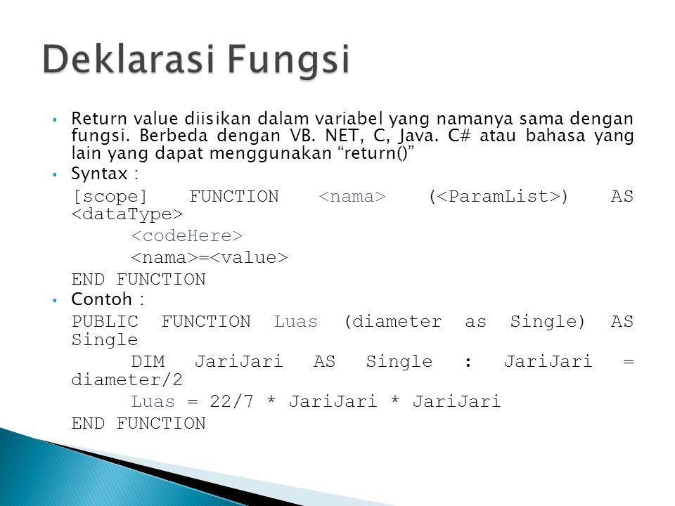  Return value diisikan dalam variabel yang namanya sama dengan fungsi. Berbeda dengan VB. NET, C, Java. C# atau bahasa yang lain yang dapat menggunak
