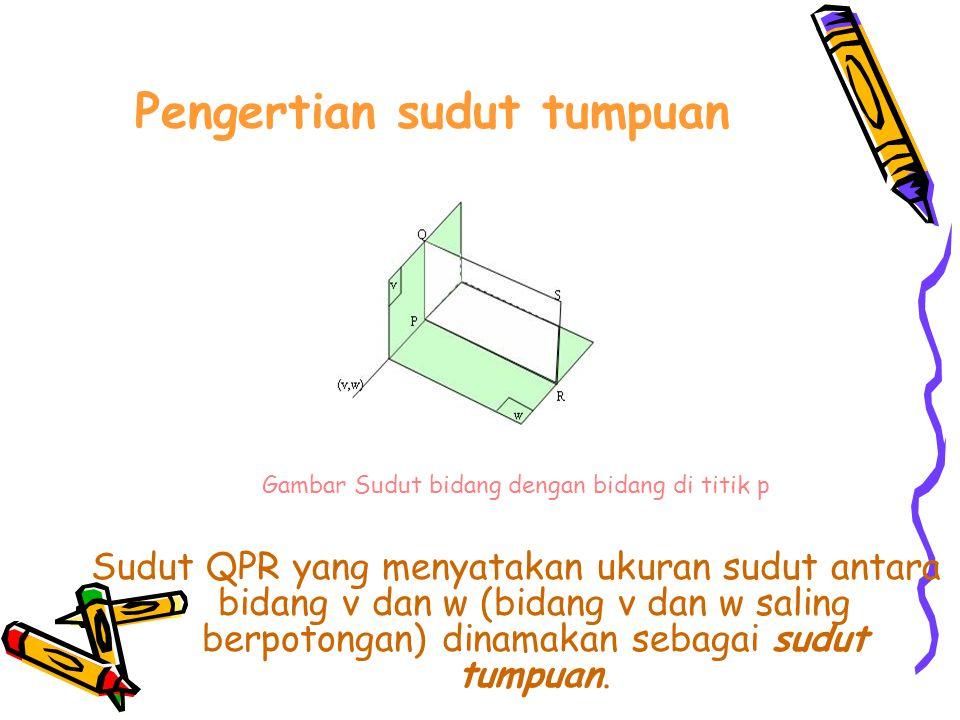 Pengertian sudut tumpuan Gambar Sudut bidang dengan bidang di titik p Sudut QPR yang menyatakan ukuran sudut antara bidang v dan w (bidang v dan w saling berpotongan) dinamakan sebagai sudut tumpuan.