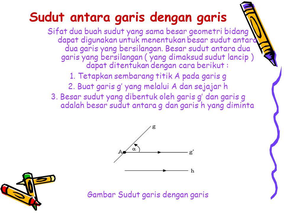 Sudut antara garis dengan garis Buat garis g' sejajar dengan garis g buat garis h' yang berpotongan dengan g' A dan sejajar besar sudut yang dibentuk oleh garis g' dan garis h' adalah besar sudut antara g dan garis h yang bersilangan Gambar 2.