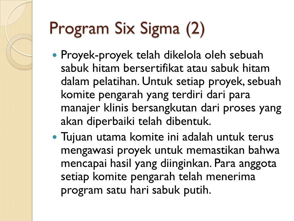 Program Six Sigma (2) Proyek-proyek telah dikelola oleh sebuah sabuk hitam bersertifikat atau sabuk hitam dalam pelatihan. Untuk setiap proyek, sebuah