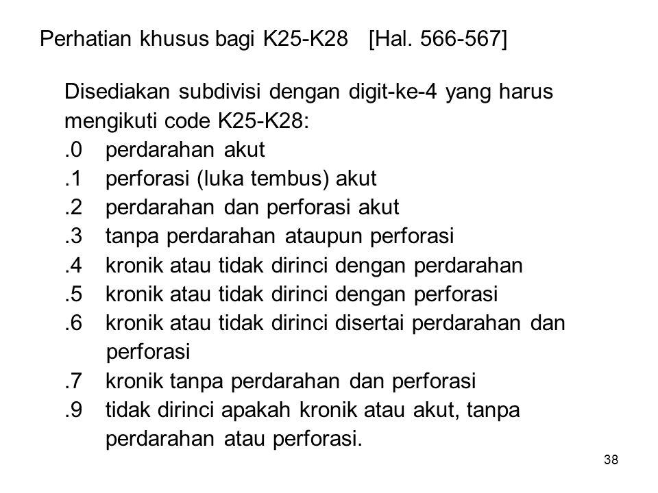 38 Perhatian khusus bagi K25-K28[Hal. 566-567] Disediakan subdivisi dengan digit-ke-4 yang harus mengikuti code K25-K28:.0perdarahan akut.1perforasi (