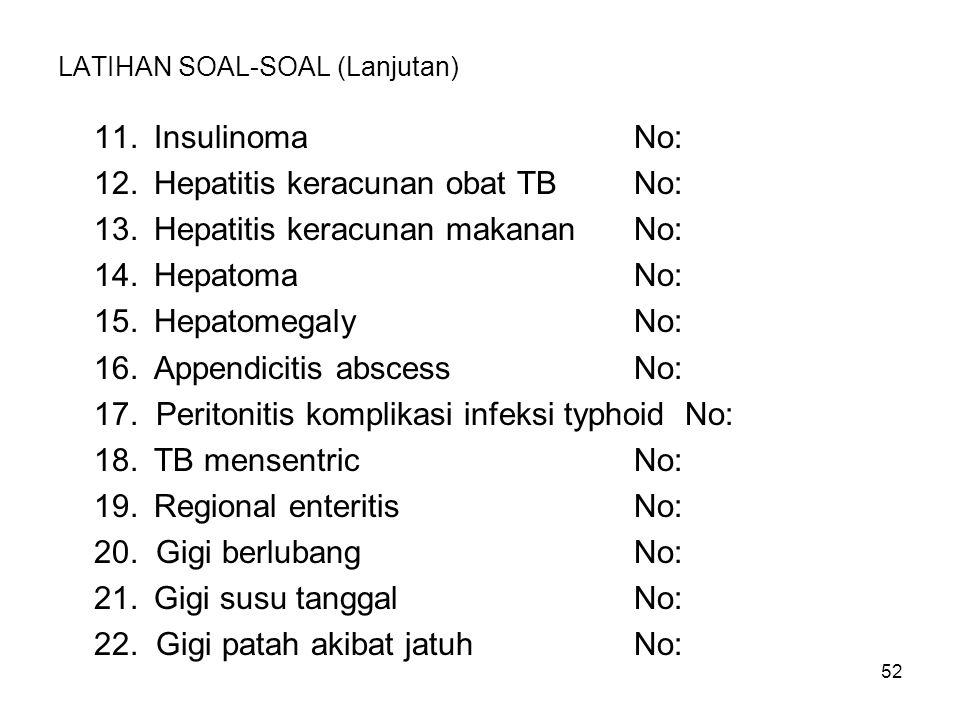 52 LATIHAN SOAL-SOAL (Lanjutan) 11.Insulinoma No: 12.Hepatitis keracunan obat TB No: 13.Hepatitis keracunan makanan No: 14.HepatomaNo: 15.Hepatomegaly
