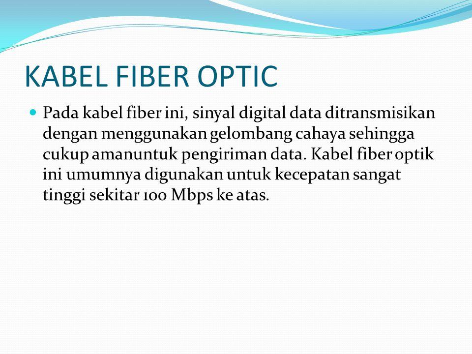 KABEL FIBER OPTIC Pada kabel fiber ini, sinyal digital data ditransmisikan dengan menggunakan gelombang cahaya sehingga cukup amanuntuk pengiriman data.