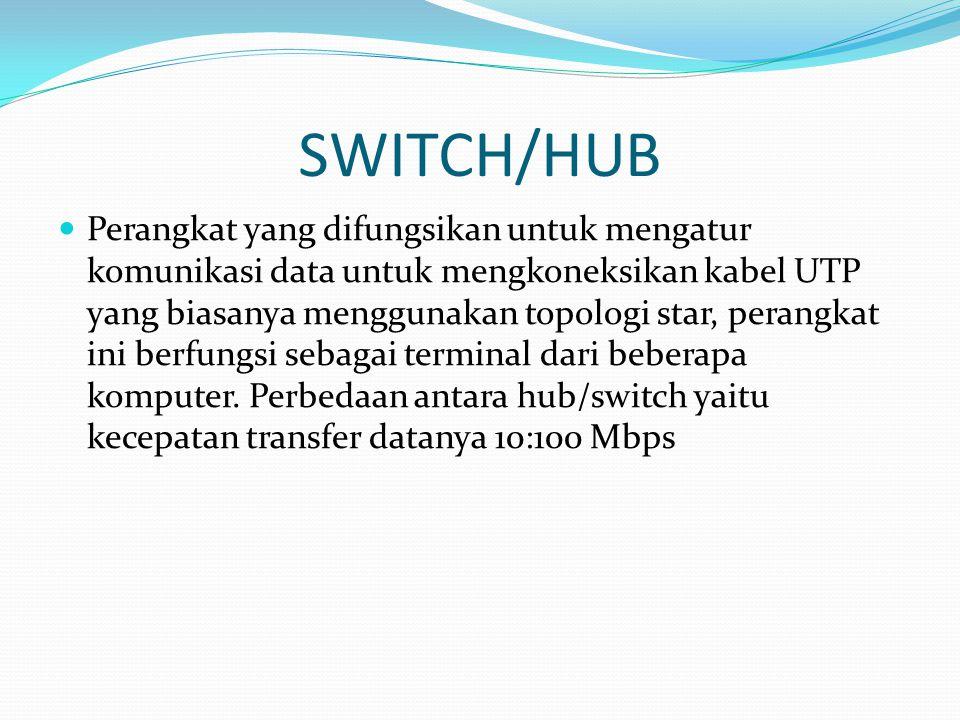 SWITCH/HUB Perangkat yang difungsikan untuk mengatur komunikasi data untuk mengkoneksikan kabel UTP yang biasanya menggunakan topologi star, perangkat ini berfungsi sebagai terminal dari beberapa komputer.
