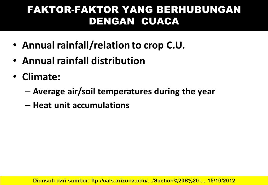 Annual rainfall/relation to crop C.U.