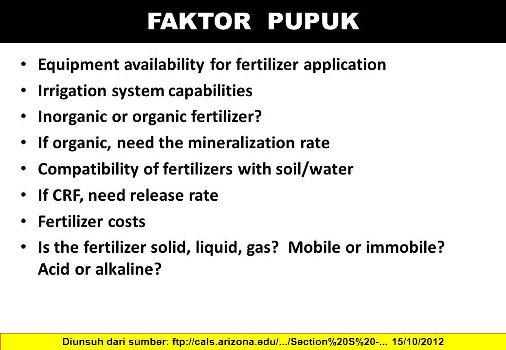 FAKTOR PUPUK Equipment availability for fertilizer application Irrigation system capabilities Inorganic or organic fertilizer? If organic, need the mi