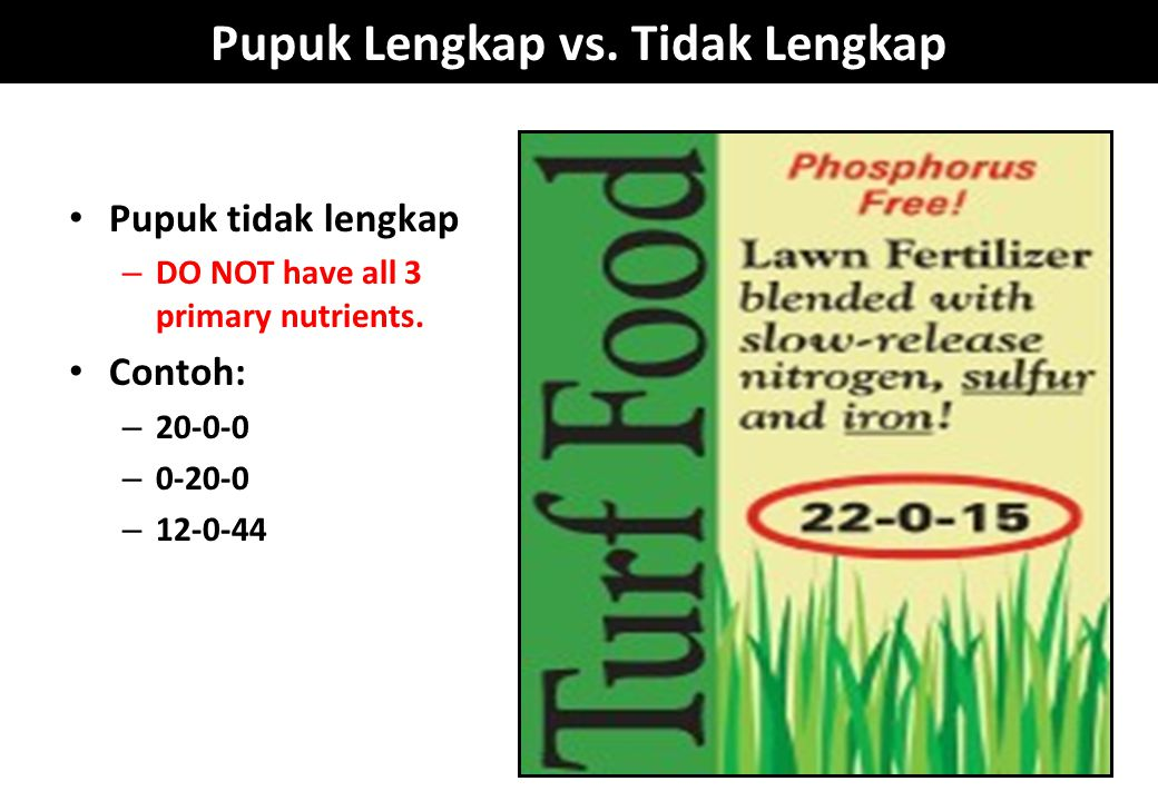 Pupuk Lengkap vs. Tidak Lengkap Pupuk tidak lengkap – DO NOT have all 3 primary nutrients. Contoh: – 20-0-0 – 0-20-0 – 12-0-44