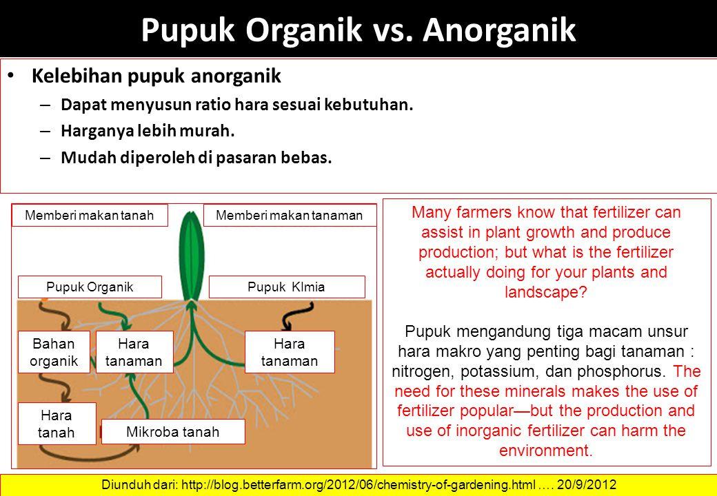 Pupuk Organik vs. Anorganik Kelebihan pupuk anorganik – Dapat menyusun ratio hara sesuai kebutuhan. – Harganya lebih murah. – Mudah diperoleh di pasar