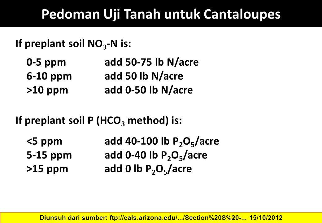 Pedoman Uji Tanah untuk Cantaloupes If preplant soil NO 3 -N is: 0-5 ppm add 50-75 lb N/acre 6-10 ppm add 50 lb N/acre >10 ppm add 0-50 lb N/acre If p