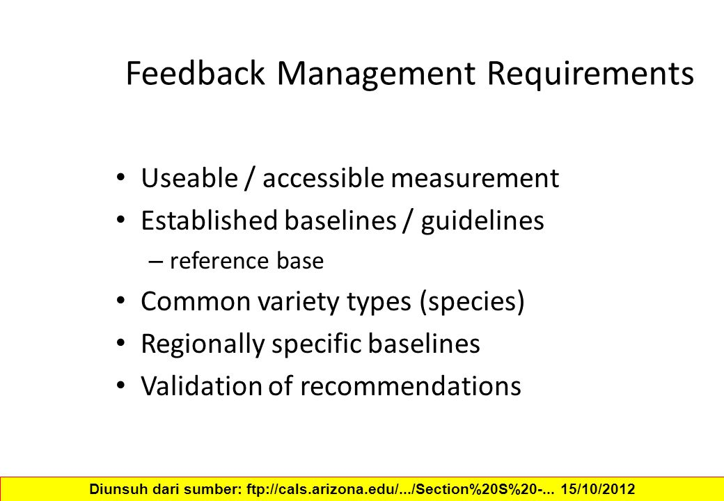 Feedback Management Requirements Useable / accessible measurement Established baselines / guidelines – reference base Common variety types (species) R