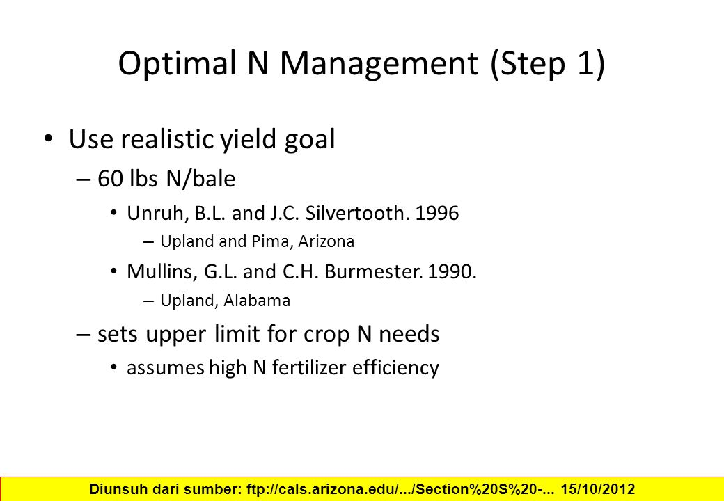 Optimal N Management (Step 1) Use realistic yield goal – 60 lbs N/bale Unruh, B.L.