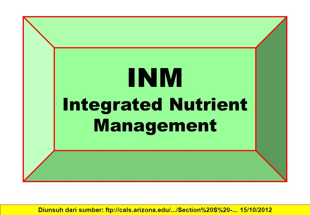 INM Integrated Nutrient Management Diunsuh dari sumber: ftp://cals.arizona.edu/.../Section%20S%20-...