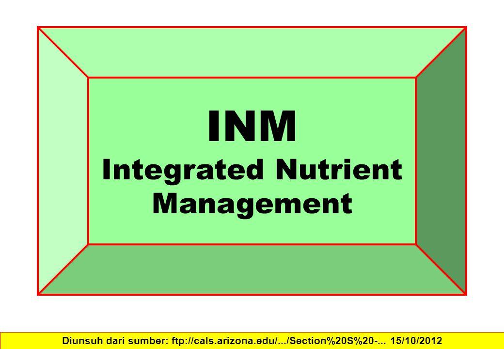INM Integrated Nutrient Management Diunsuh dari sumber: ftp://cals.arizona.edu/.../Section%20S%20-... 15/10/2012