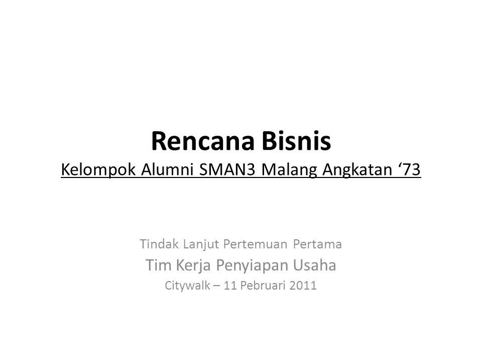 Rencana Bisnis Kelompok Alumni SMAN3 Malang Angkatan '73 Tindak Lanjut Pertemuan Pertama Tim Kerja Penyiapan Usaha Citywalk – 11 Pebruari 2011
