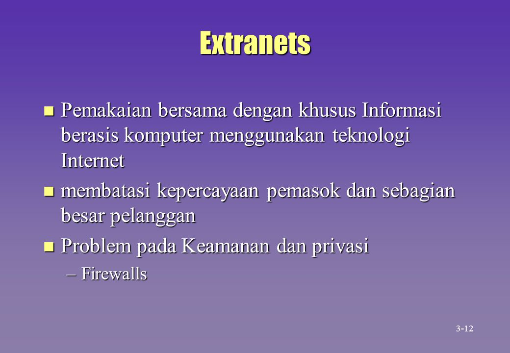 Extranets n Pemakaian bersama dengan khusus Informasi berasis komputer menggunakan teknologi Internet n membatasi kepercayaan pemasok dan sebagian bes